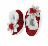 Red Poinsettia Fur Lined Baby Slippers