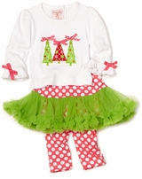 Little Girls Christmas Outfit - Triple Tree Ornament Set  SOLD OUT