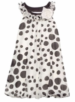 Rare Editions Girls 7 - 16 Dresses Black/ Ivory Dot Chiffon Bubble Dress