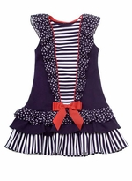 Rare Editions Navy Mixed Print Ruffle Nautical Dress