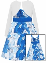 Girls Dresses 7-16 Blue Floral Dress With Cardigan  Sold Out