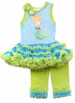 Turquoise and Lime Mermaid Applique Tutu Legging Set
