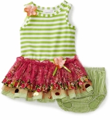 Infant Girls Dress :  Green Stripes and Ruffles  sold out