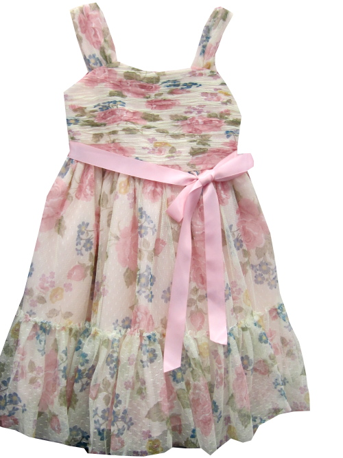 Bonnie Jean Girls Easter Dress  - Soft Pink Floral Shirred Dress - Size 4 - 12 12 at Sears.com