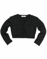 Bonnie Jean - GIrls Black Cardigan with Rosette and Beads