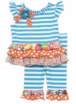Rare Editions Toddler Turquoise and Orange Mixed Print Ruffle Set