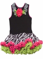 Girls Zebra Print  Pettidress Fuchsia Lime Tutu Dress Size 5 or 6