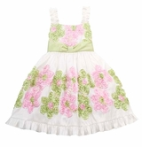 Girls Spring Easter Dress - Pink/ Green Flower Soutach Dress