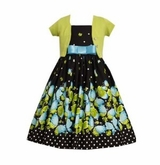 Black and Turquoise Sleeveless Butterfly Print Dress with Lime Cardigan SOLD OUT