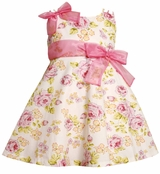 Bonnie Jean Pink Glitter Floral Triple Strap Dress Size 4-4T
