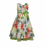 Bonnie Jean Girls Dress : Pleated Neckline Floral  Size 5