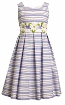 Girls 4 - 6 Easter Dress : Periwinkle Striped by Bonnie Jean CLEARANCE
