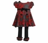 Newborn-Toddler Girl's: Red Plaid Poly Rayon Legging Set