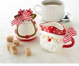 Christmas Cream And Sugar Set  Santa - Deer
