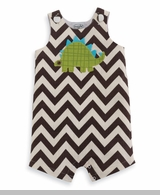 Mud Pie -  Baby Boys Clothes Brown Chevron Dino Overall - SOLD OUT