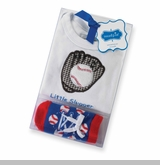 Mud Pie Newborn Boys Baseball Baby Gift Set 0-6 months