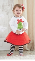 Red Girl's Holiday Skirt Set: Mud Pie Girl's Christmas Tree Tutu Skirt Set