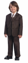 Boys Shirt Suit Set : 5 Piece Brown Suit with Shirt Vest and Tie