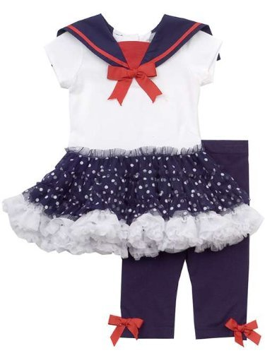 Rare Editions 3 month - 6X Girls Navy and White Nautical Tutu Legging Set 5 at Sears.com