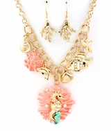 Coral Reef and Seahorse Charm Pendant Necklace and Earring Set