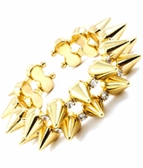 Double Row Gold and Crystal Spike Stretch Cuff Bracelet