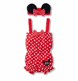 Red Minnie Mouse Inspired Infant Coverall with Headband