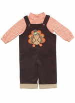 Boy' s Brown Thanksgiving Turkey Corduroy Overall