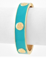 Designer Inspired Turquoise Enamel Bangle Bracelet
