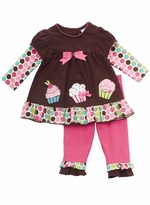 Girl's Brown Cupcake Applique Legging Set : Rare Editions Girls Pant Set
