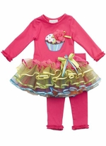 Infant Girls Tutu Set - Rare Editions Cupcake Multi Color Ribbon Toddler Girls Tutu Legging Set