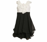 Bonnie Jean Black White Chiffon Dress With Ruffled Collar