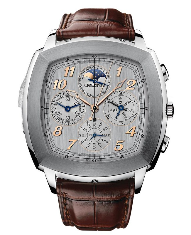 Audemars Piguet Classic Tradition Perpetual Calendar Silver Dial Brown Leather Mens Watch 26567TIOOD