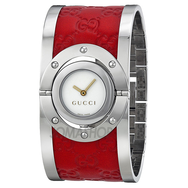 Gucci Twirl White Stainless Steel with Red Leather Ladies Watch YA112435