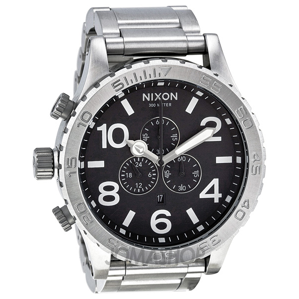 nixon 51 30 chronograph black stainless steel s