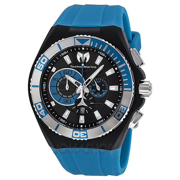 Technomarine Locker Chronograph Black Dial Stainless Steel Turquoise Silicone Mens Watch 112010