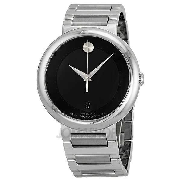 movado concerto automatic black stainless steel mens