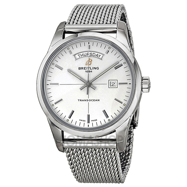 breitling transocean day date automatic silver s