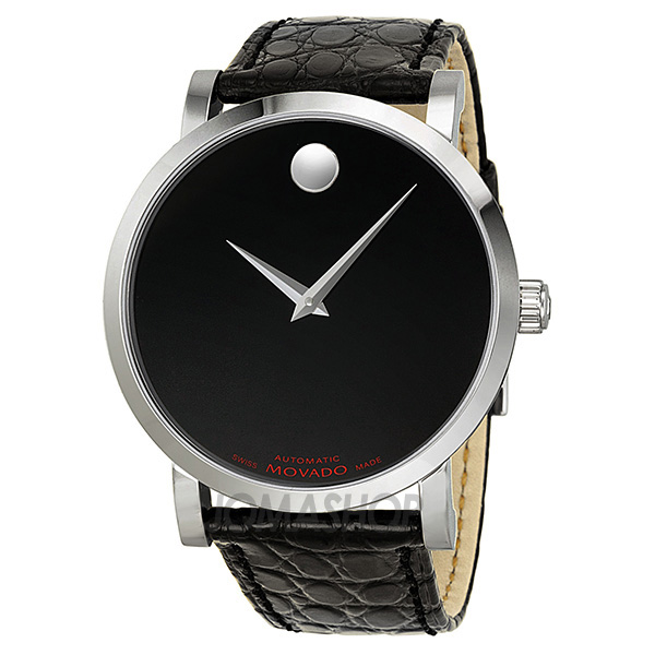 movado label automatic black stainless steel
