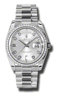 Rolex Day-Date Silver Dial Automatic Platinum  Ladies Watch 118346SDP