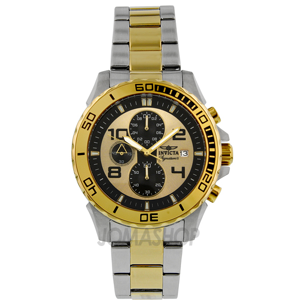 invicta signature ii black and gold tone two toned