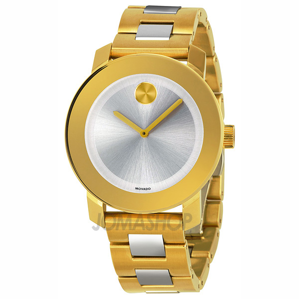 movado bold silver gold ip stainless steel