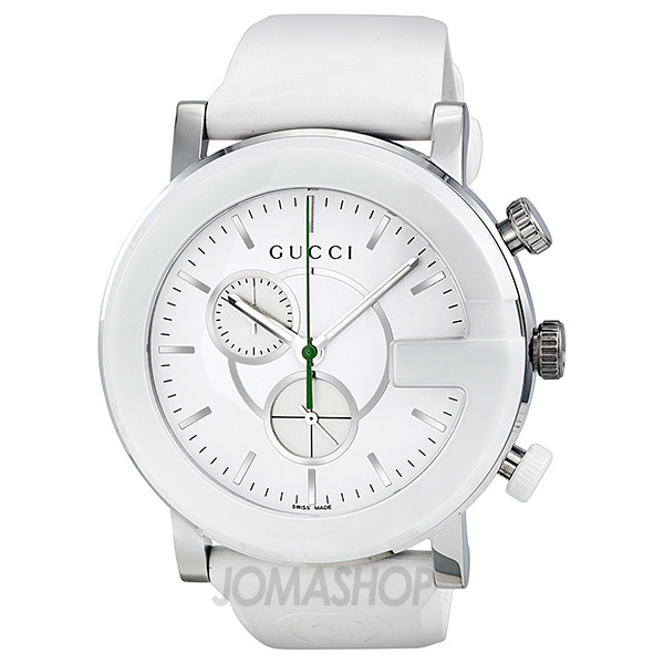 gucci gtimeless chronograph white dial white rubber strap