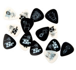 D'Addario/Planet Waves Joe Satriani Collectible Guitar Picks Silver on Black Medium Gauge 10-Pack, 1CBK4-10JS