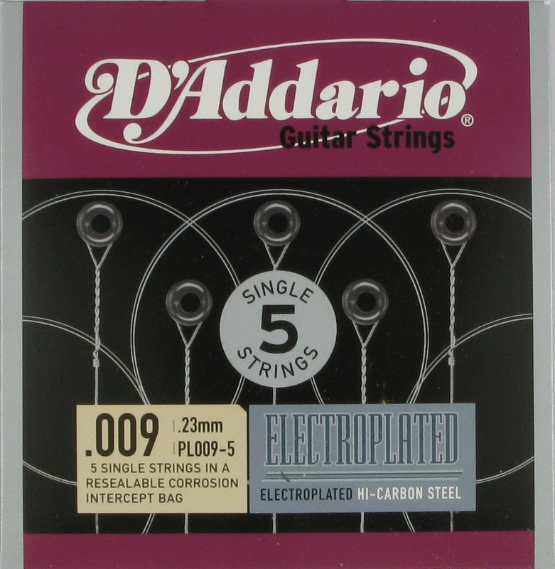 D'Addario Electroplated Hi-Carbon Steel Acoustic or Electric .009, 5-Pack, PL009-5