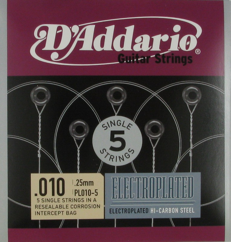 D'Addario Electroplated Hi-Carbon Steel Acoustic or Electric .010, 5-Pack, PL010-5