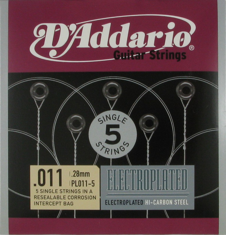 D'Addario Electroplated Hi-Carbon Steel Acoustic or Electric .011, 5-Pack, PL011-5