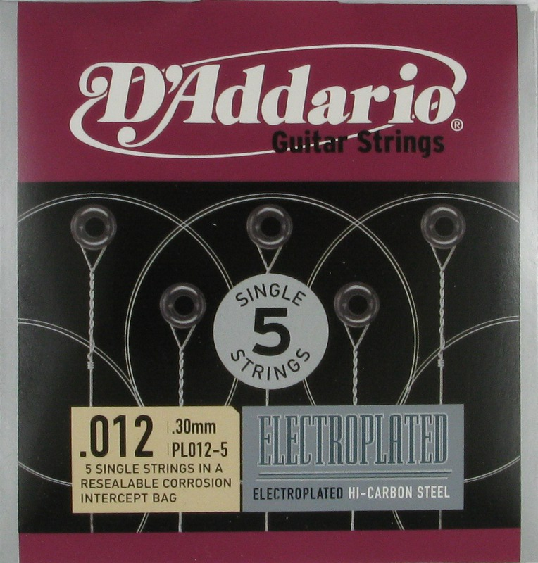 D'Addario Electroplated Hi-Carbon Steel Acoustic or Electric .012, 5-Pack, PL012-5