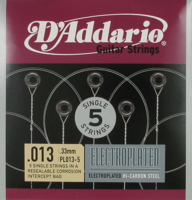 D'Addario Electroplated Hi-Carbon Steel Acoustic or Electric .013, 5-Pack, PL013-5
