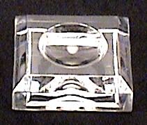 Clear Acrylic Marble /Sphere Bases Dimple Block # 581, 1 1/2 inches Square by 1/2 Inches Tall.