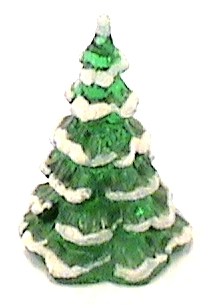 Fenton  Green Christmas Tree with Cat 3 1/8 inches tall, Made in the U.S.A.